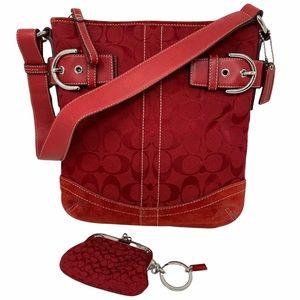 Coach Signature Red Logo Satchel Bag Coin Pouch